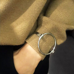 Circle Latch Bangle - Silver