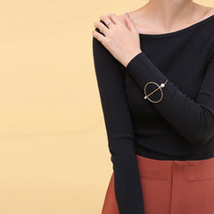 Circle & Pearl Rod Bangle - Gold