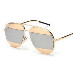 DANI Split Sunglasses - Gold with Silver Mirror Lens