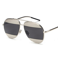 DANI Split Sunglasses - Silver with Black Lens