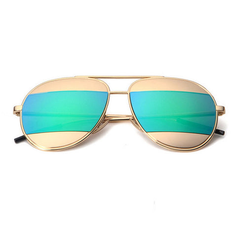 DANI Split Sunglasses - Gold with Green Mirror Lens