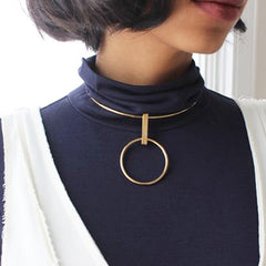 DITA Drop Ring Pendant Choker Necklace - Gold, Silver