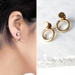 DUAL Double Back Stud Earrings (Gold/Black)