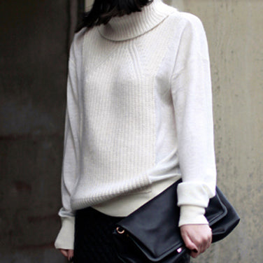 DANI Turtleneck Knit Detail Sweater