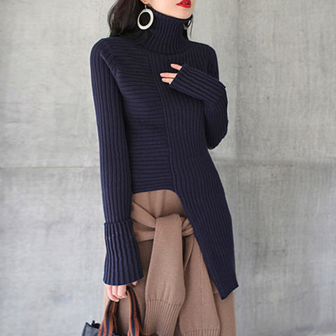 ERICA Navy Asymmetric Ribbed Knitted Turtleneck