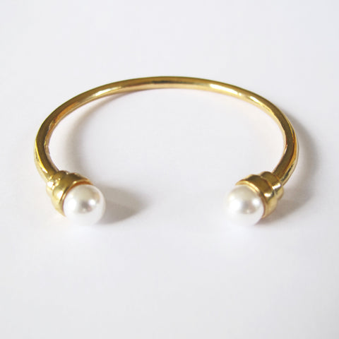 Double Pearl End Open Bangle Cuff