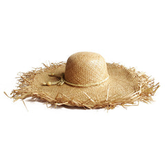 Frayed Edge Straw Sun Hat - Natural