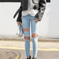 IZA Square Cut-Outs Distressed Skinny Jeans - Light Blue