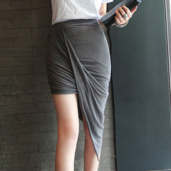 LANG Asymmetric Jersey Skirt- Grey