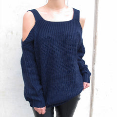 LASEY Off Shoulder Cut-Outs Knit Sweater - Navy Blue