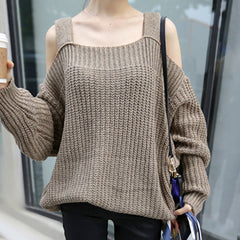 LASEY Off Shoulder Cut-Outs Knit Sweater - Latte