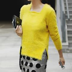 LENA Fluffy Square Neck Sweater - Yellow