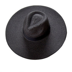 Large Brim Panama Hat - Black