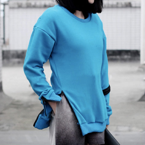 MAXUS Blue Sweater with Zipper Detail