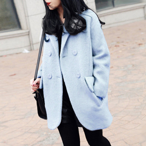 NEELY Oversized Double Breasted Coat - Pale Blue