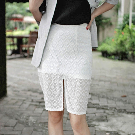 PETRA Diamond Lace Skirt w/Front Split- White or Black
