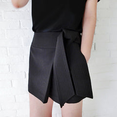 PETA Suiting Side Tie Skort/Skirt - Black