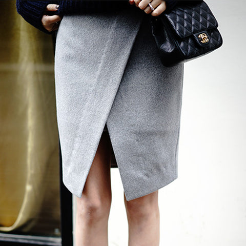 RITA Wrap Pencil Skirt- Grey