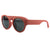 Retro Round Thick Frame Sunglasses - Red