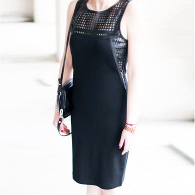 HANNAH Black Perforated Leather PU Top Dress