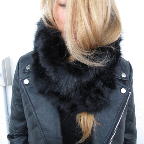 Black Fur Snood