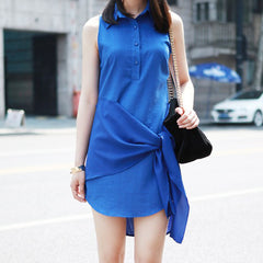 FALLON Side Tie Sleeveless Shirt Dress