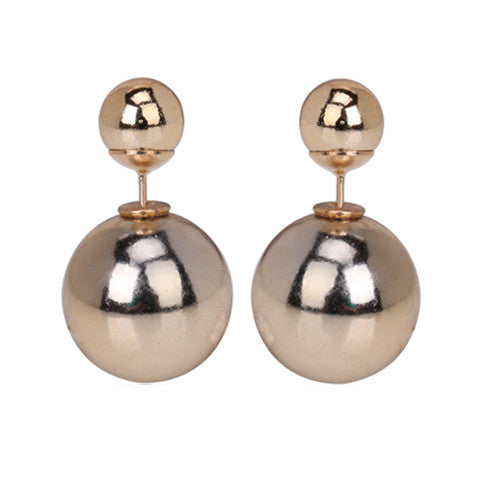 Gold Ball Double End Stud Earring