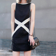 HILARY High-Neck Pocket Dress with contrast 'X' - Black