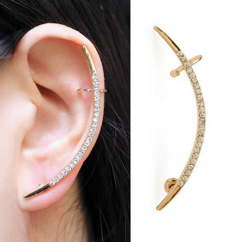 Half Moon Diamante Ear Cuff Earrings (Pair)
