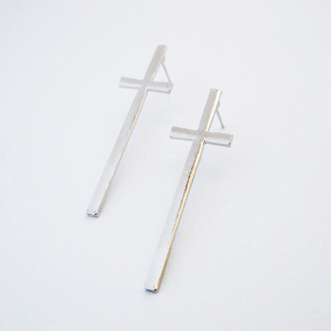 Large Cross Stud Earrings - Silver