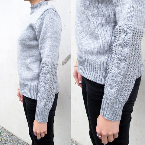 LIZZY Grey Cable Knit Contrast Woollen Sweater