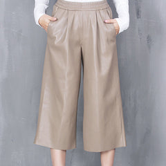 JENA Leather PU Culottes - Taupe
