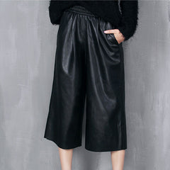 JENA Leather PU Culottes - Black