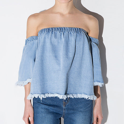 KALA Frayed Denim Off-Shoulder Top