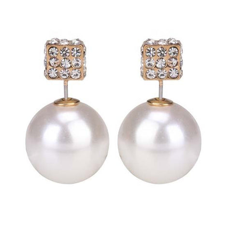 Pearl and Diamante Cube Double End Stud Earring -  White