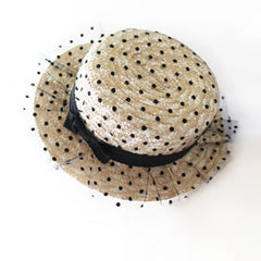 Boater Hat with Polka Dots