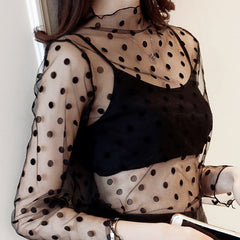 REEMA Sheer Long Sleeve Top - Polka Dot