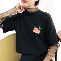 Rose Applique T-shirt - Black, White
