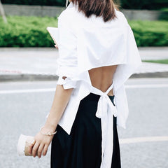 SARAH Open Back Tie Shirt- White