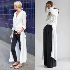 SISTINE Long Wrap Silk Shirt - White, Black