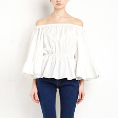 SOMMER Pearl Beaded Flounce Off-Shoulder Top - White