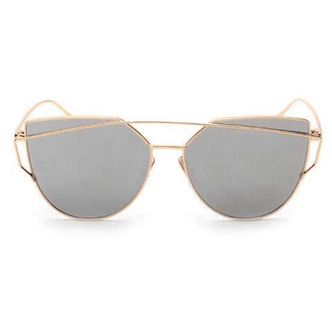 SONG Sunglasses - Gold with Silver Mirror Lens
