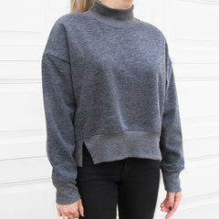 TONI Funnel Collar Sweater with Hem Slits- Grey
