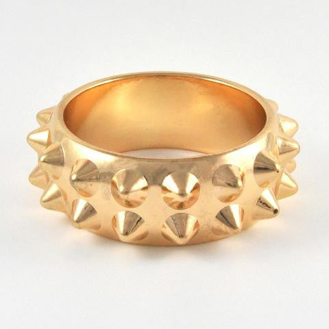 Spike Studded Round Bangle- Gold
