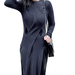 VANESSA Cross-Over Long Knit with Splits - Black