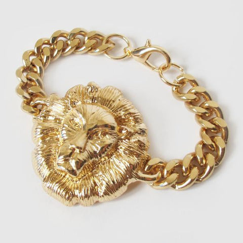 Lion Head Gold Chain Bracelet