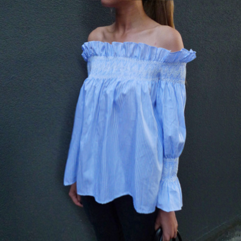 CHASE Pinstripe Peasant Off-Shoulder Top