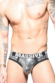 Andrew Christian MASSIVE Glitz Brief - Plata