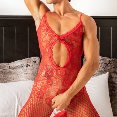 Secret Male SMC005 Bodystocking Red