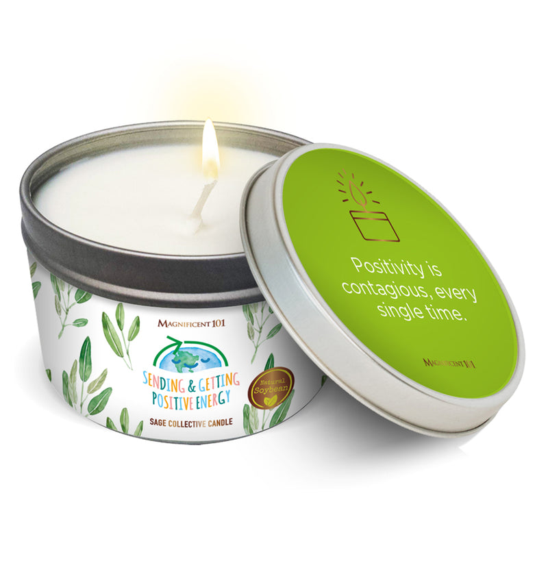 """SENDING AND GETTING POSITIVE ENERGY"" SAGE COLLECTIVE Candle"